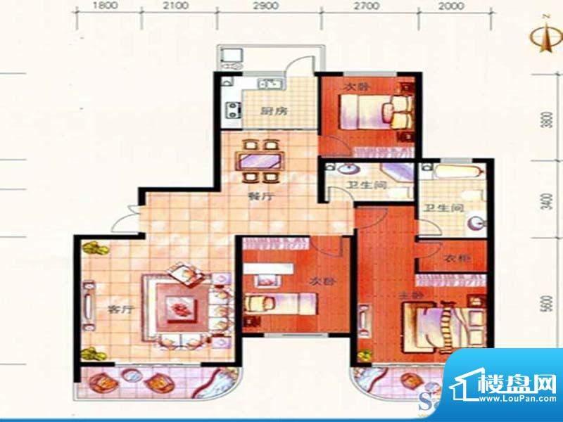 美珠花园J1户型 3室面积:150.55m平米