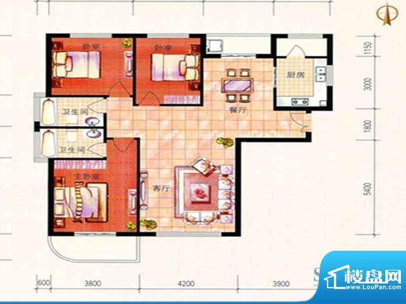美珠花园G户型 3室2面积:147.34m平米