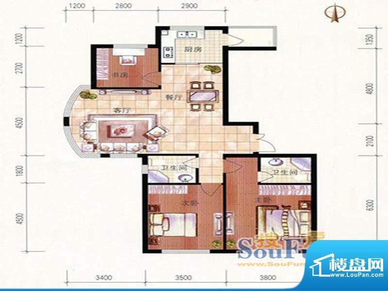 美珠花园E户型 3室2面积:134.29m平米