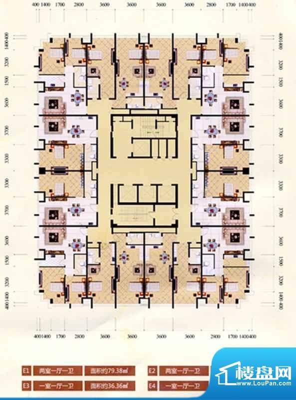 滨河茗苑户型图2 2室面积:79.38m平米