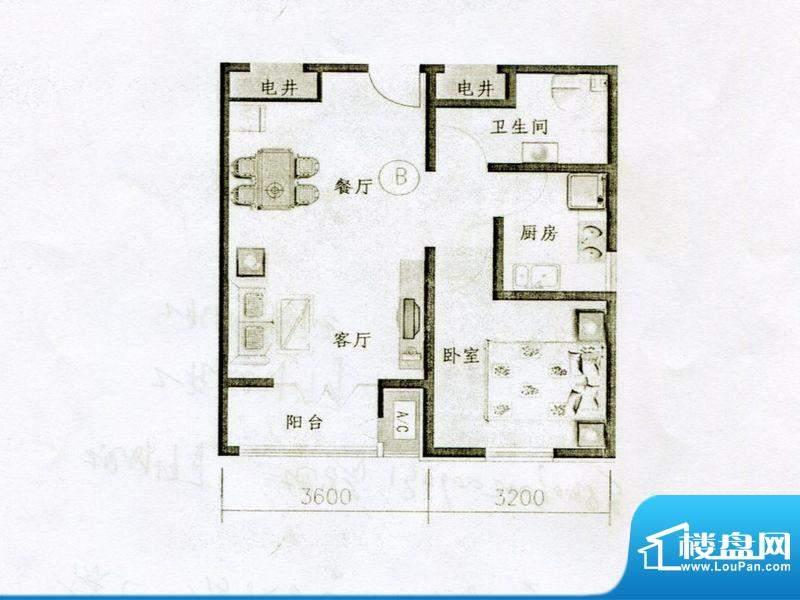 仁和宜佳公寓高层B户面积:76.00m平米