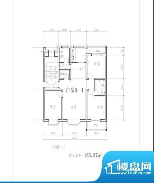 四季花城西侧户型B-面积:125.37m平米