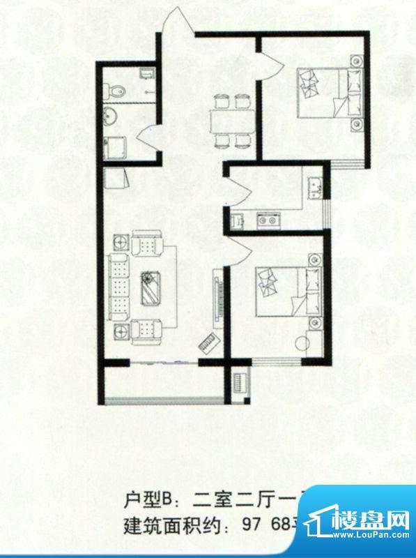 浩达公寓高层B户型 面积:97.68m平米
