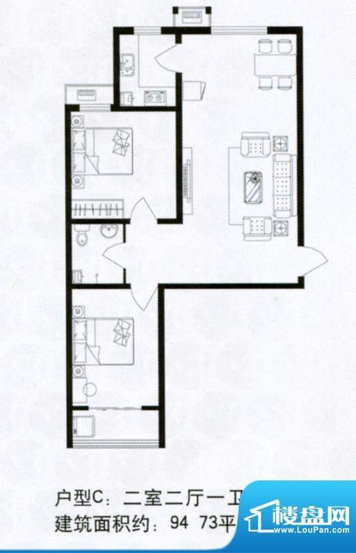 浩达公寓高层C户型 面积:94.73m平米