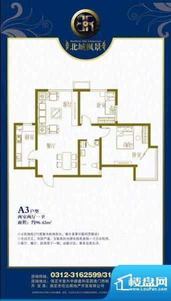 北城枫景A3户型两室面积:96.42m平米