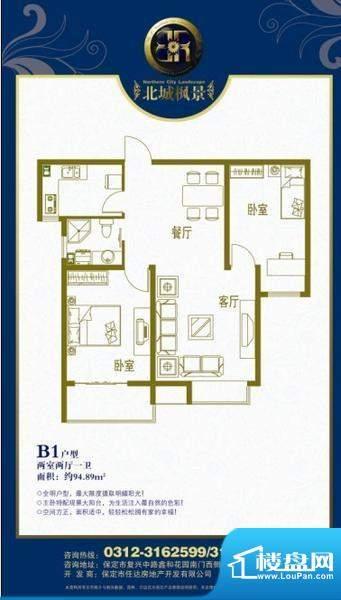 北城枫景B1户型两室面积:94.89m平米