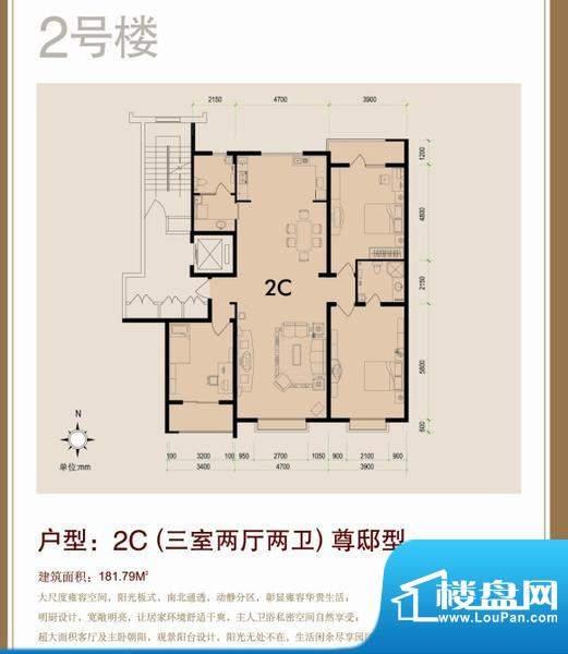 天成嘉园2号楼C户型面积:181.79m平米