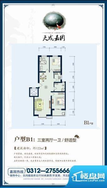 天成嘉园B1户型 3室面积:122.00m平米