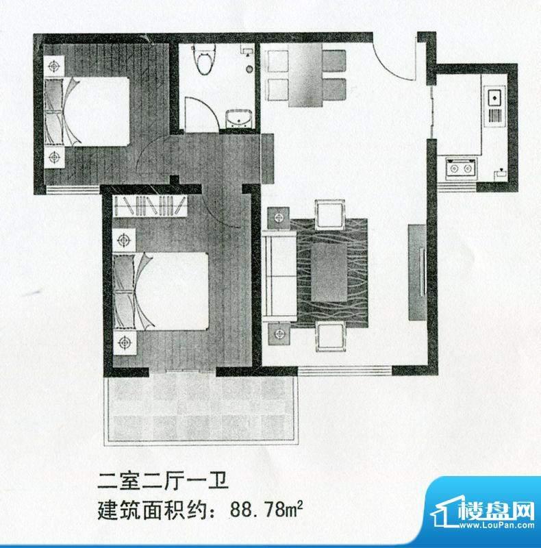 晨巍金地高层户型 2面积:88.78m平米