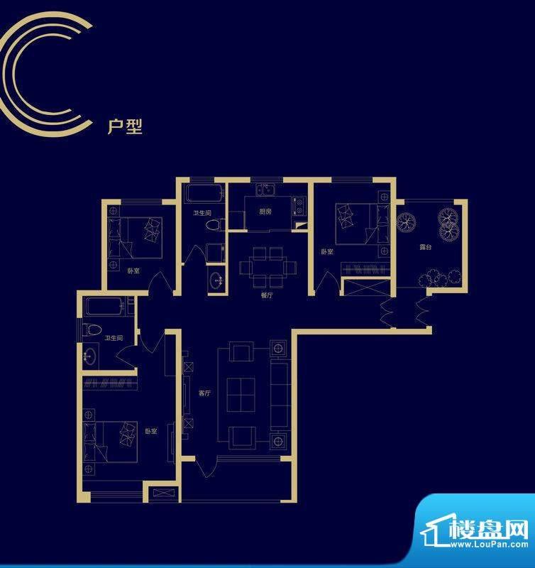 隆基泰和广场C户型图面积:125.00m平米