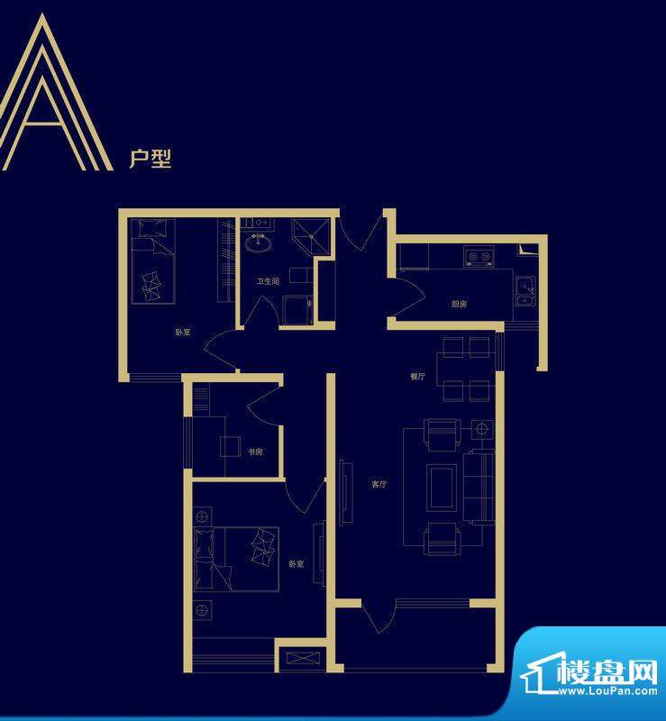 隆基泰和广场A户型图面积:90.00m平米