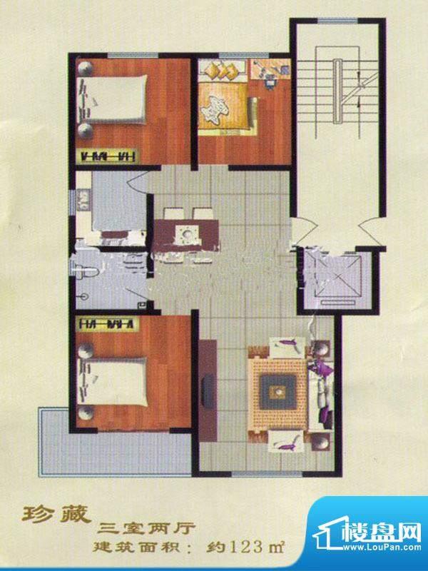 兴华鸿景两室两厅一面积:123.00m平米