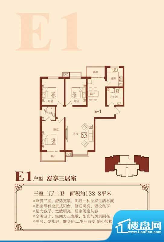 荣联天下城E1户型 3面积:138.80m平米