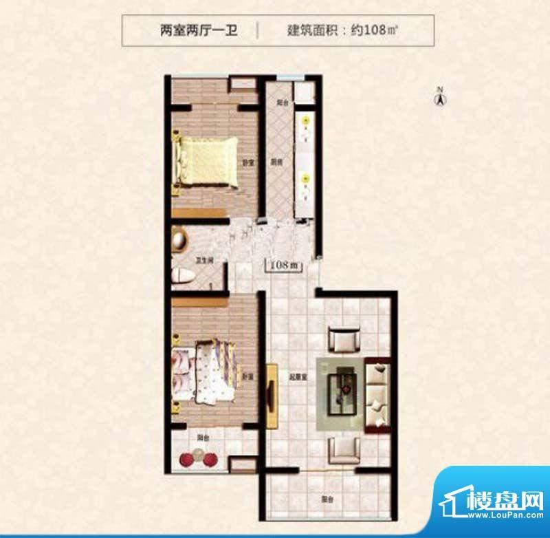 阳光尚城1#2#F户型 面积:108.00m平米