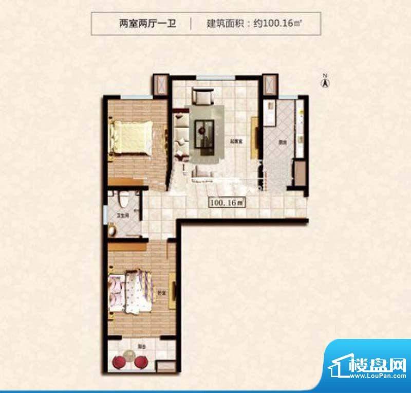 阳光尚城6#A户型 2室面积:100.16m平米