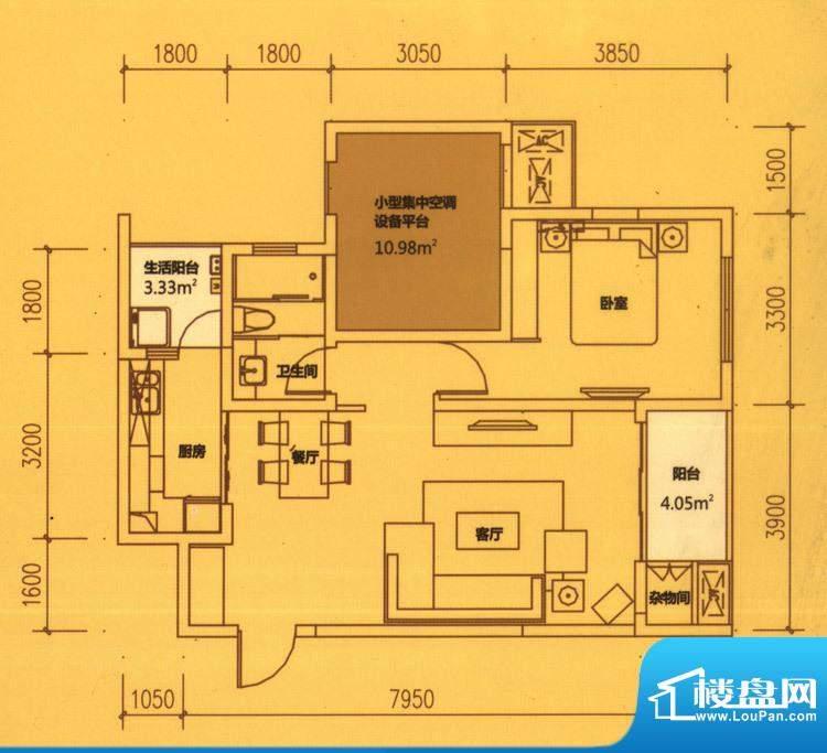 东原长洲A1 1室2厅1面积:74.65平米