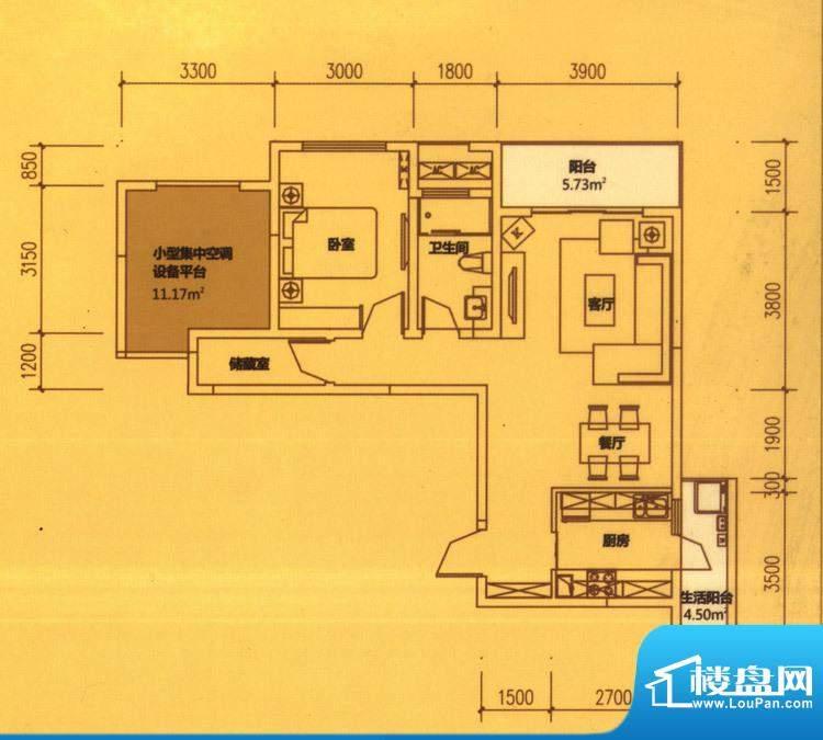 东原长洲A3 1室2厅1面积:80.35平米
