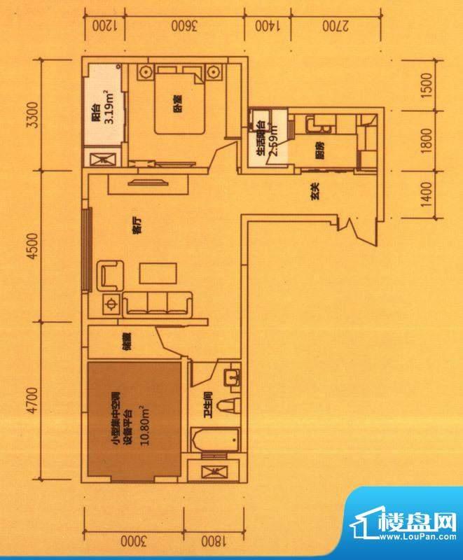 东原长洲A4 1室1厅1面积:71.75平米