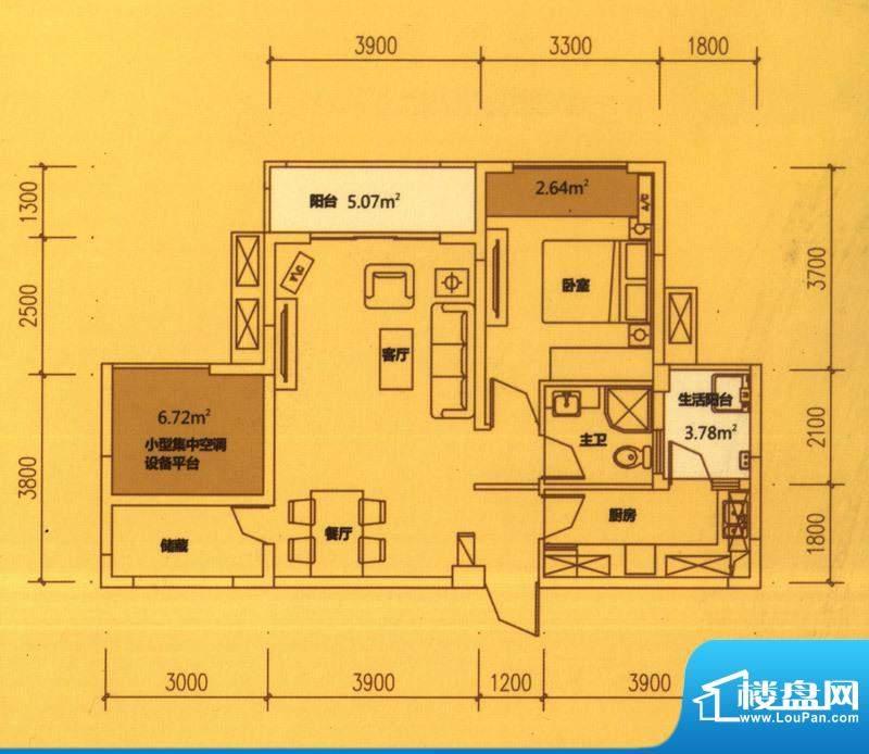 东原长洲A5 1室2厅1面积:70.94平米