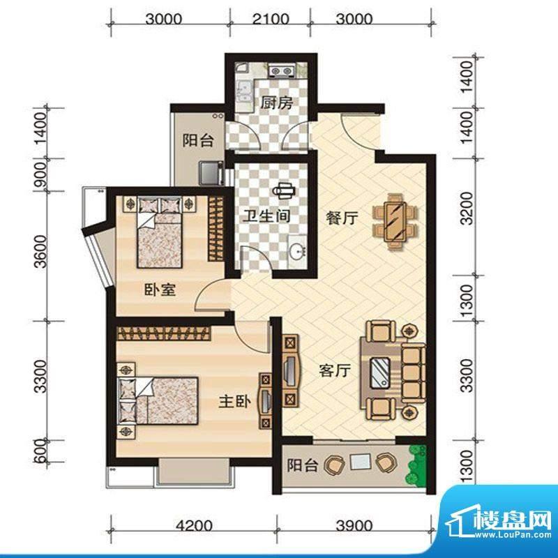 西科苑B2 2室2厅1卫面积:83.26平米