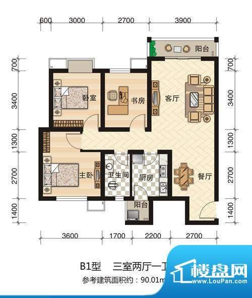 西科苑B1 3室2厅1卫面积:90.01平米