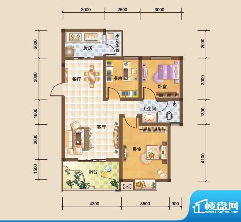 科大美林K户型图 3室面积:87.91平米