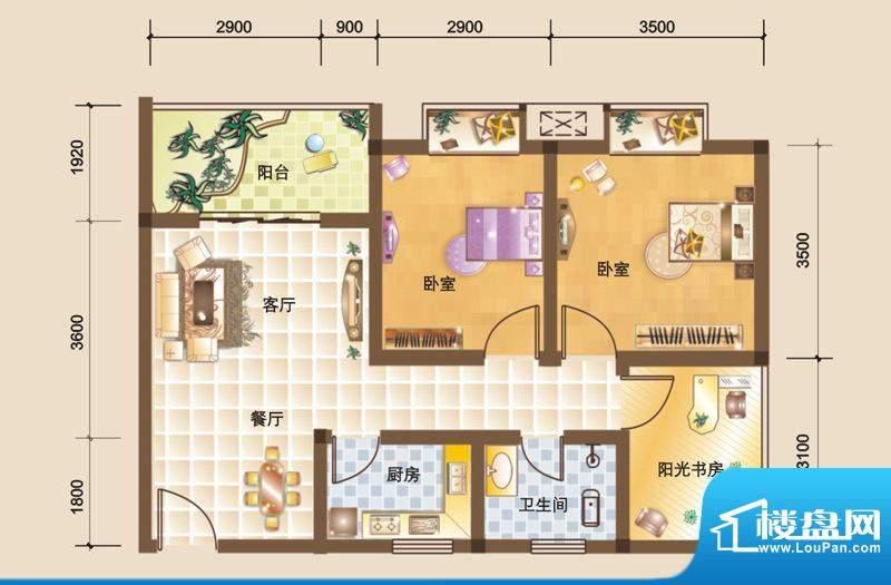 科大美林R户型图 2室面积:75.32平米