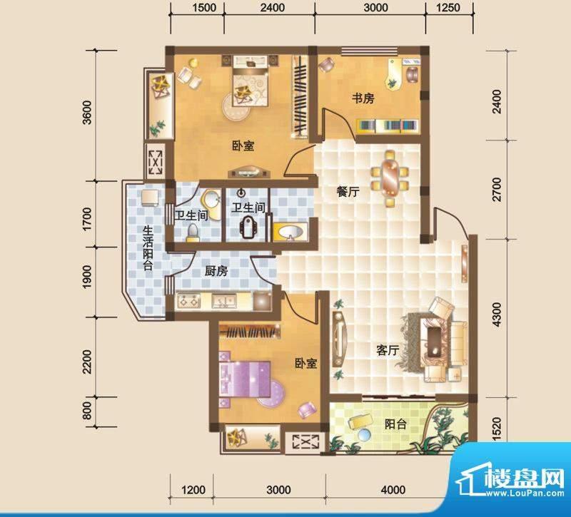 科大美林J户型图 3室面积:85.54平米