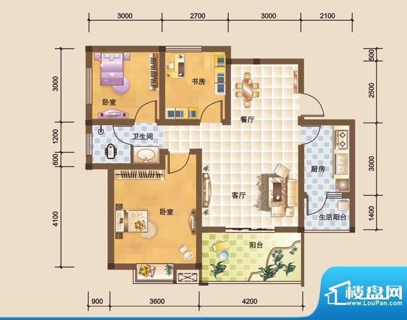 科大美林O户型图 3室面积:87.76平米