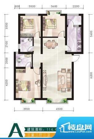未城滨江佳苑B 3室2面积:114.60平米