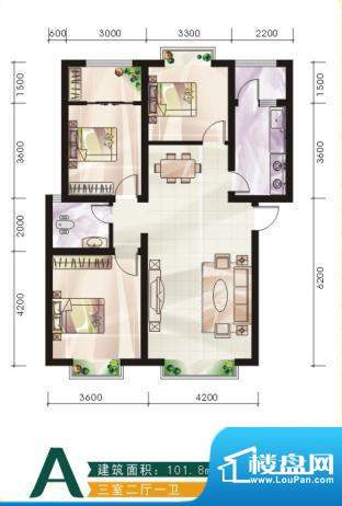 未城滨江佳苑C 3室2面积:101.80平米