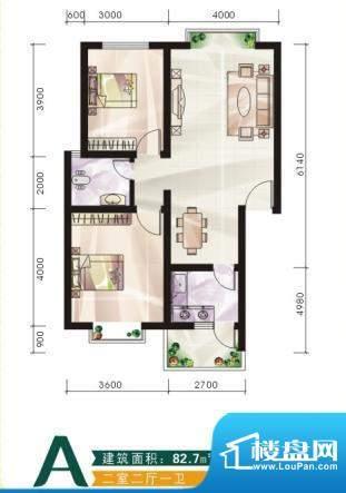 未城滨江佳苑D 2室2面积:82.70平米