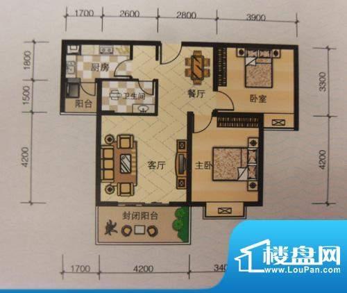嘉来涪滨印象B2 2室面积:86.20平米