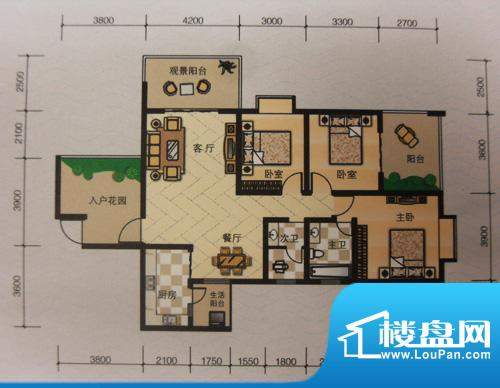 嘉来涪滨印象C2 3室面积:132.00平米