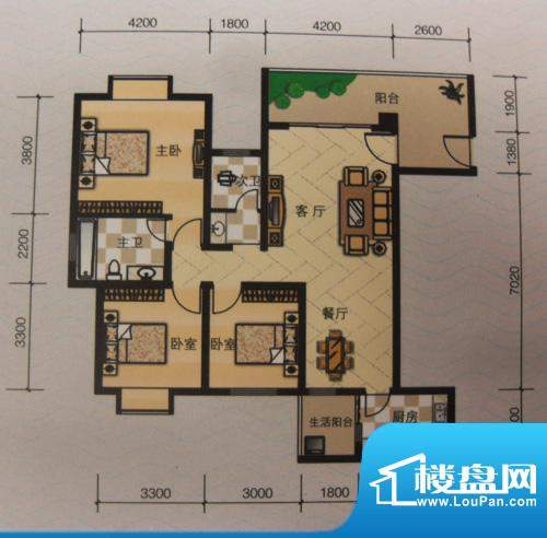 嘉来涪滨印象D1 3室面积:123.00平米