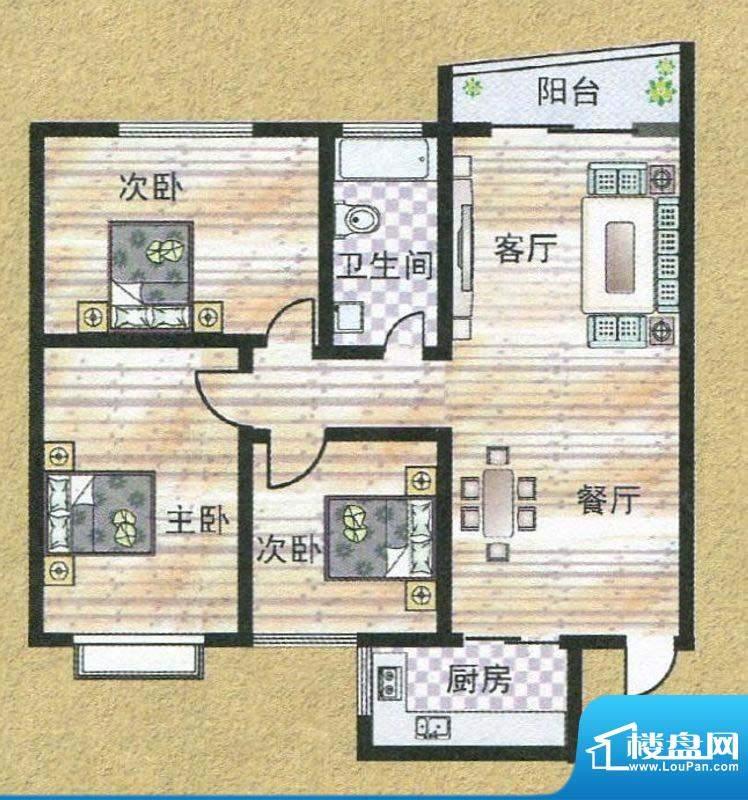 亚秀丽都L户型 3室2面积:113.76m平米