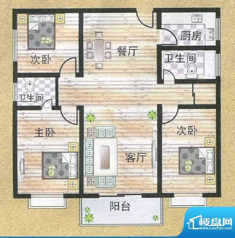 亚秀丽都M户型 3室2面积:124.54m平米