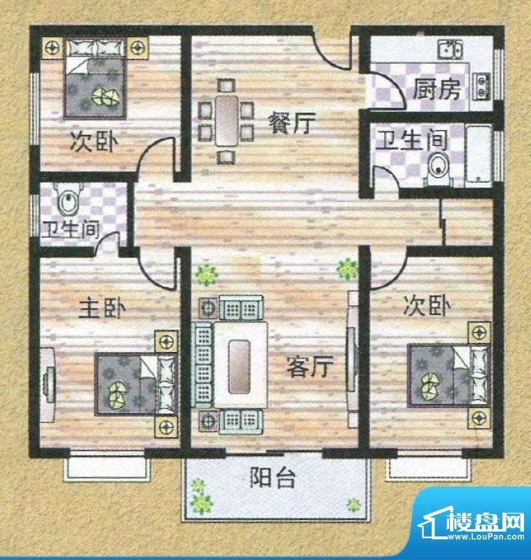亚秀丽都N户型 3室2面积:123.38m平米