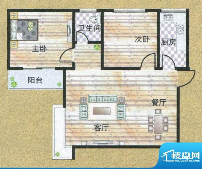亚秀丽都Q户型 2室2面积:85.50m平米