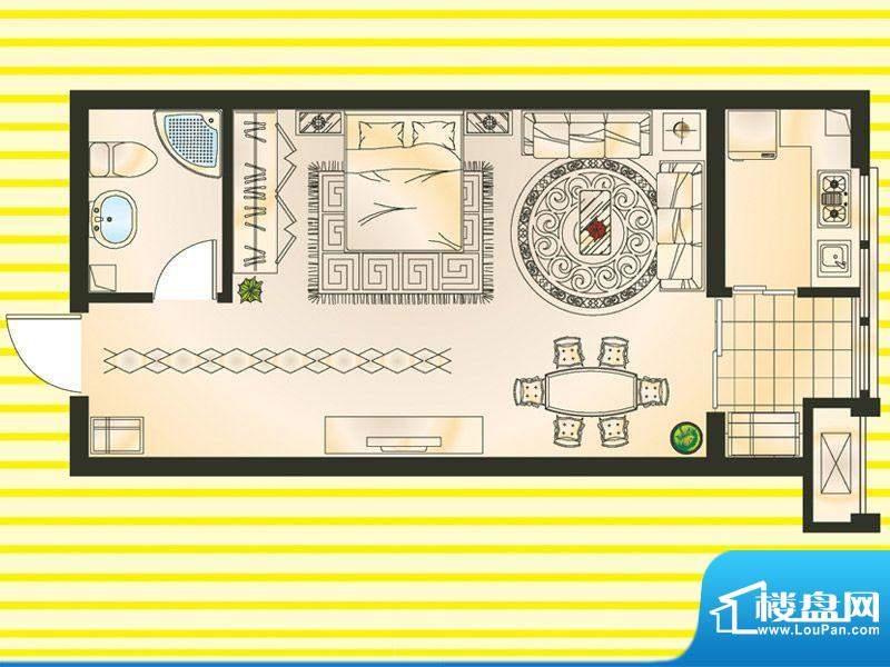 巨隆星城A户型 1室1面积:49.00m平米