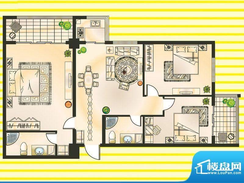 巨隆星城C户型 3室2面积:114.00m平米
