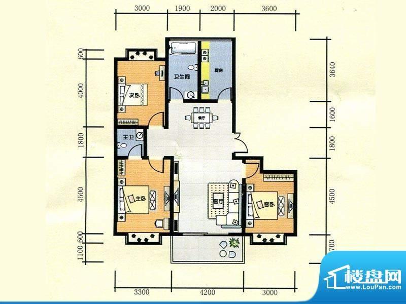 世纪广场1#楼D1户型面积:129.00m平米
