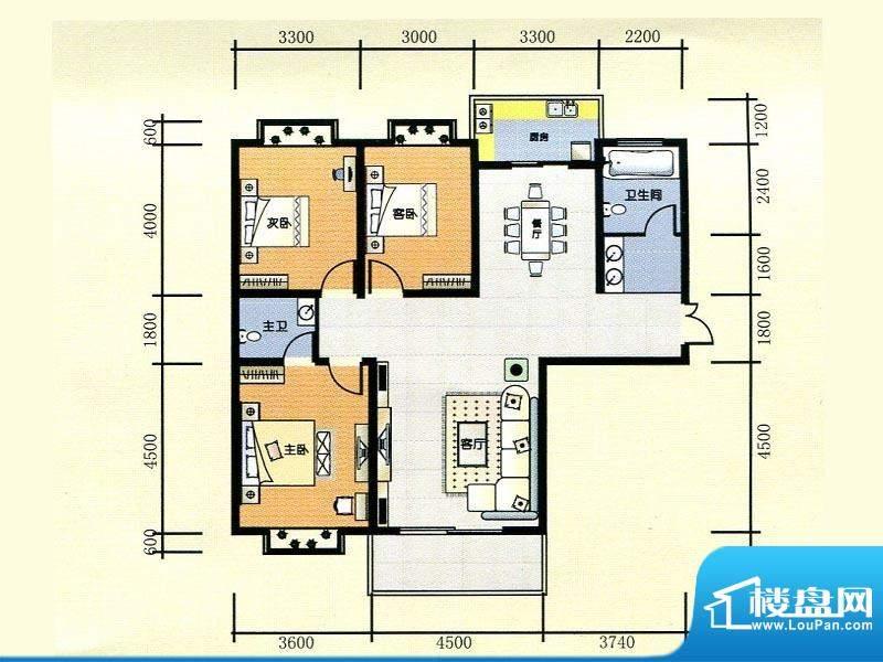 世纪广场1#楼E1户型面积:140.00m平米