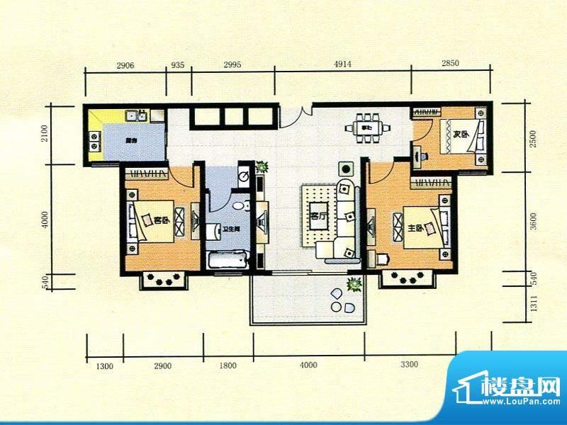 世纪广场1#楼E2户型面积:104.00m平米