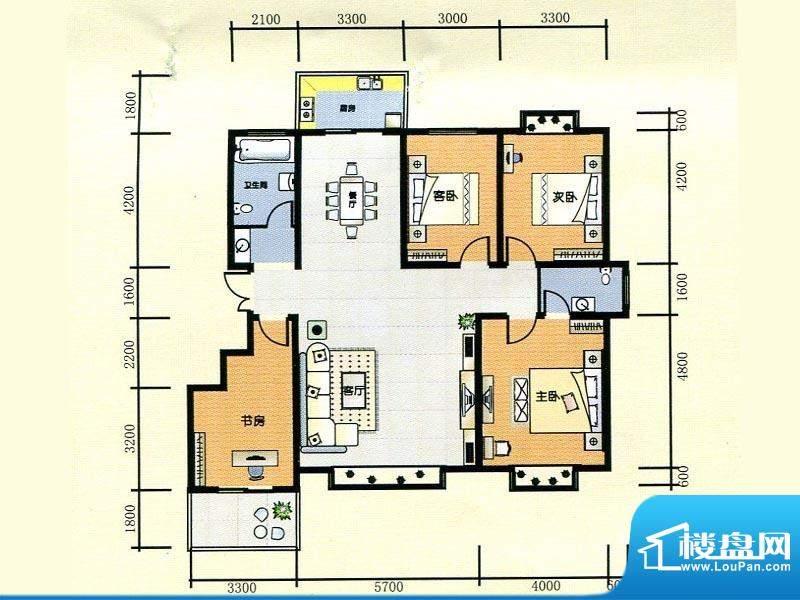 世纪广场2#楼C2户型面积:159.10m平米