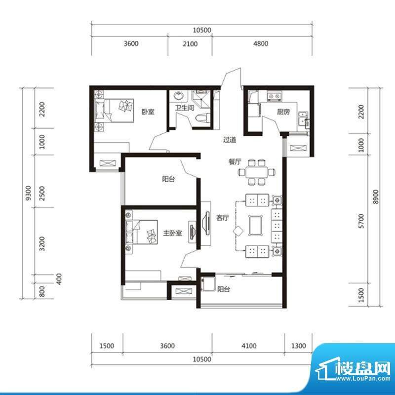 泉舜财富中心6期2户面积:96.00m平米