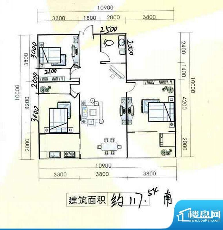置隆花园户型图 3室面积:117.54m平米