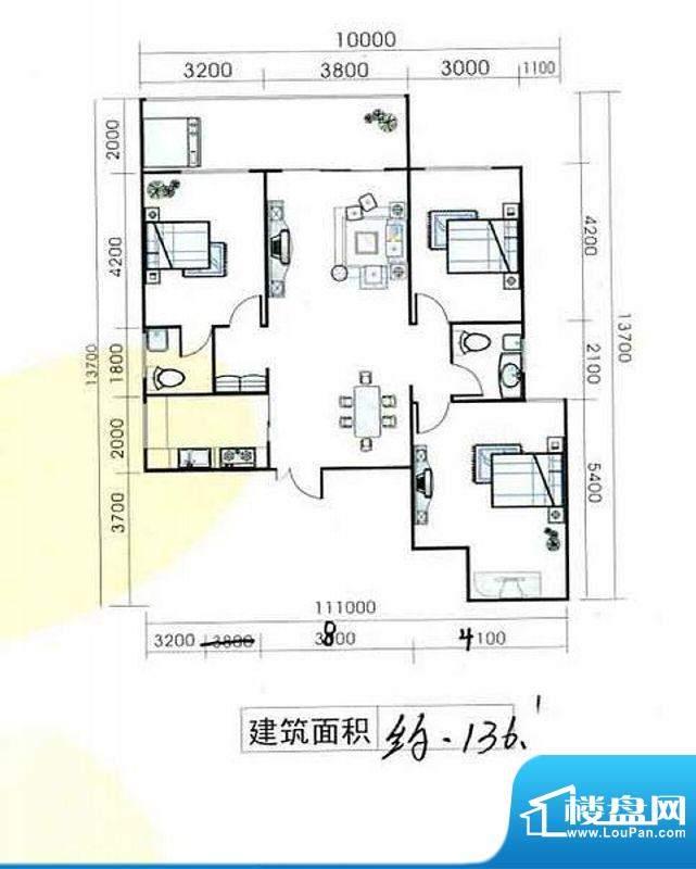 置隆花园户型图 3室面积:136.00m平米