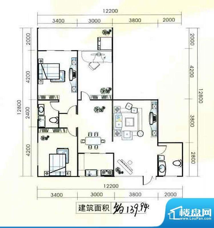 置隆花园户型图 3室面积:139.94m平米