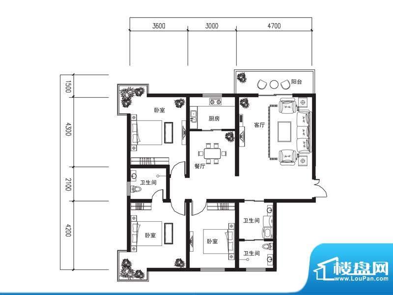 荆山名邸A户型 3室2面积:146.68m平米